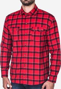 Camisa Xadrez Manga Longa Vermelha 200339