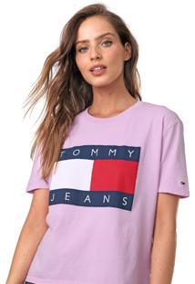 Camiseta Tommy Jeans Estampada Rosa