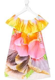 Molo Kids Vestido Com Estampa Floral - Laranja