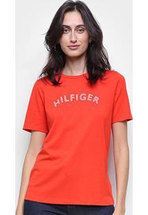 Camiseta Tommy Hilfiger Básica Logo Feminina - Feminino-Laranja