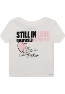 Blusa Infantil Animê Cotton Still In Love Feminino - Feminino-Bege