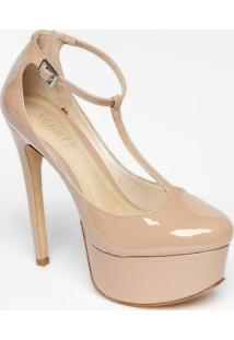 Sapato Meia Pata Envernizado - Nude- Salto: 14Cmschutz