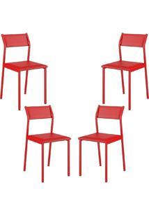 Conjunto 4 Cadeiras Tubo Vermelho Napa Vermelho Carraro