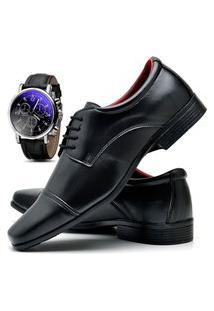 Sapato Social Masculino Asgard Com Relógio Db 807Lbm Preto