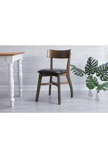 Cadeira Para Computador Estofada Bella - Castanho E Couro Preto Tec. A100 - 44X51X82 Cm