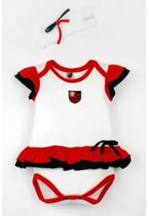 Body Reve D'Or Sport Vestido Com Tiara Flamengo Branca, Vermelha E Preta