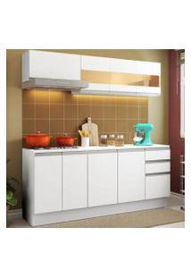 Cozinha Compacta 100% Mdf Madesa Smart 180 Cm Modulada Com Balcão E Tampo Branco