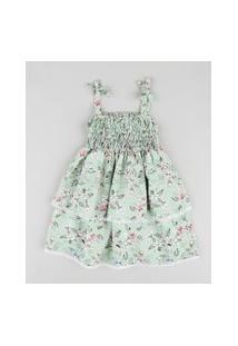 Vestido Infantil Em Camadas Estampado Floral Com Laços Alça Média Verde