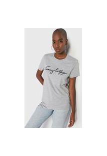 Camiseta Tommy Hilfiger Logo Cinza