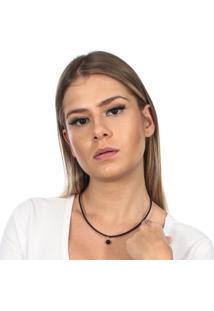 Colar Rabo De Gato Em Couro E Pedra Do Sol - Feminino-Preto