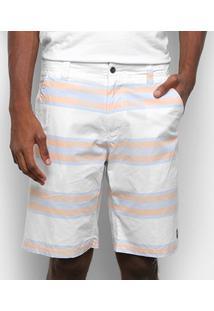 Bermuda Sarja Gajang Listras Masculina - Masculino-Branco