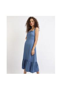 Vestido Feminino Midi Decote Reto Alças Médias Azul