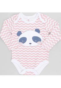 Body Infantil Panda Estampado Chevron Manga Longa Decote Redondo Rosa