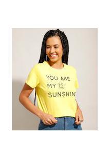"""Camiseta De Algodão Tal Mãe Tal Filha """"You Are My Sunshine"""" Manga Curta Decote Redondo Amarela"""