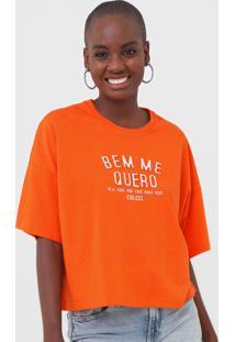Camiseta Colcci Bem Me Quero Neon Laranja - Laranja - Feminino - Algodã£O - Dafiti