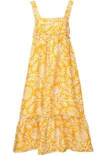Lee Mathews Vestido Estampado De Seda - Amarelo E Laranja