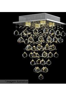 Plafon Tyrell Quadrado- Cristal & Prateado- 50X32X32Hevvy