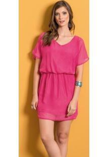 Vestido Com Leve Transparência Pink