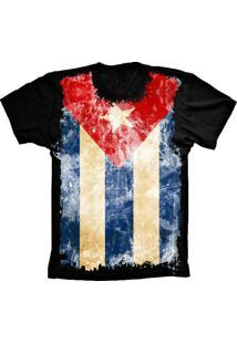 Camiseta Baby Look Lu Geek Flag Cuba Preto - Tricae