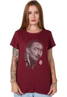 Camiseta Salvador Dali Collage Bordô