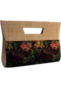 8e5196903 Bolsa Carteira De Mão Em Palha Artestore De Buriti E Estampa Natureza Floral
