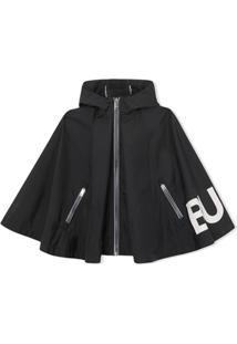 Burberry Kids Logo Print Hooded Cape - Preto