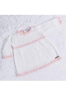 Vestido Tricot Com Pérolas Branco/Rosa 3/6M Grão De Gente Branco