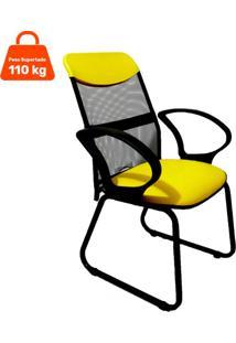 Cadeira De Escritório Diretor Costaneira Soft Fixa Amarelo