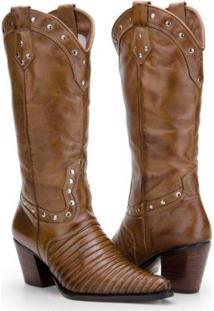Bota Texana Country Capelli Boots Em Couro Com Aplicações Metálicas Feminina - Feminino-Marrom Claro