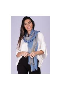 Echarpe Lenço Feminino Detalhe Dourado Panamá Azul Persa