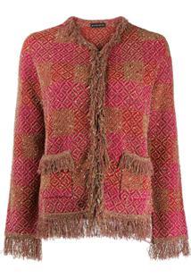 Etro Jaqueta De Tweed Com Franjas - Vermelho