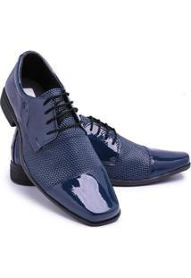 Sapato Social Verniz Bico Quadrado Cadarço Festa Schiareli Masculino - Masculino-Azul