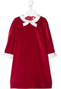 Il Gufo Vestido Evasê Com Detalhe De Laço - Vermelho