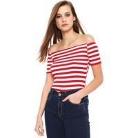 cb86493dc Blusa Coca-Cola Jeans Ombro A Ombro Off-White/Vermelha