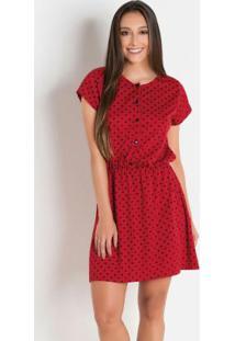 Vestido Vermelho Com Botões Frontais