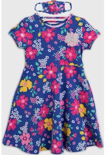 Vestido Kyly Infantil Com Máscara Azul/Rosa