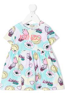 Kenzo Kids Vestido Evasê Com Estampa Gráfica - Rosa