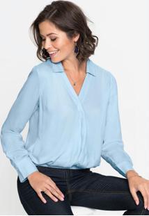Camisa Transpassada Com Elástico Azul Claro