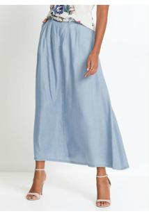 Saia Jeans Longa Azul Claro
