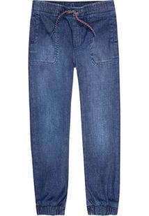 Calça Jeans Juvenil Hering Cordão Masculina - Masculino-Azul