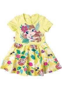 Vestido Estampado Com Aplicações Menina Zig Zig Zaa Amarelo - G