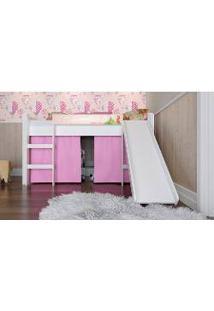 Cama Elevada Com Escorregador Branco E Impressão Rosa Bb 880 Completa Móveis