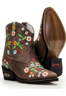 Bota Couro Texana Country Capelli Feminina - Feminino-Marrom