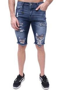 Bermuda Rock&Soda Jeans Destroyed Skinny Masculina - Masculino-Azul Escuro