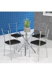 Conjunto De Mesa De Cozinha Com Tampo De Vidro Gia I E 4 Cadeiras Preto