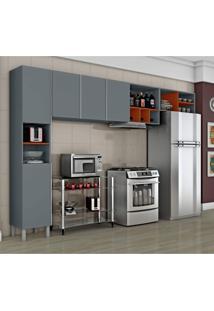 Cozinha Compacta 3 Peças Com Adega Nice Iii Siena Móveis Cinza/Laranja