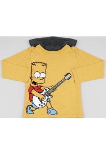 Camiseta Infantil Bart Simpsons Com Capuz Manga Longa Mostarda