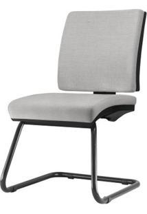 Cadeira Simple Assento Courino Cinza Claro Base Fixa Preta - 54970 Sun House