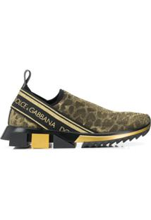 Dolce & Gabbana Tênis Com Animal Print - Dourado
