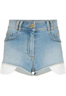 Balmain Short Cintura Alta Com Logo Bordado - 6Fc Bleu